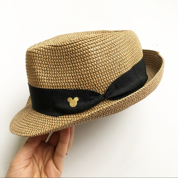 e16a59eee334 Disney Accessories   Parks Mickey Mouse Straw Fedora Hat   Poshmark